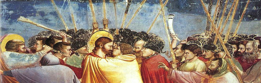 "Giotto di Bondone, ""Kiss of Judas."" Scrovegni Chapel, Padua, south wall (1303-1306)"